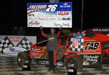 Jeff Strunk won his eighth Freedom 76 Saturday at Grandview Speedway. (Rich Kepner photo)