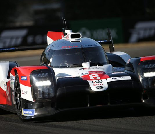Toyota Gazoo Racing's Kazuki Nakajima, Sebastien Buemi and Brendon Hartley drove the No. 8 Toyota TS050 Hybrid to victory in the 24 Hours of Le Mans. (Toyota Photo)