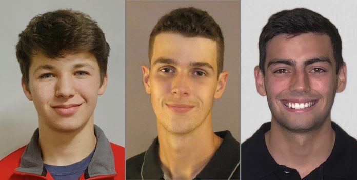 (From left) Bryce Aron, Jackson Lee and Simon Sikes earned Team USA Scholarships.