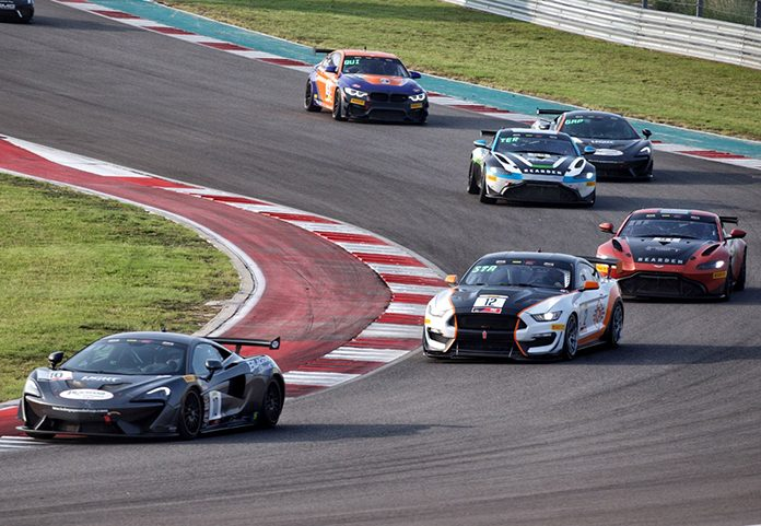 Michael Cooper leads the way during Sunday's Pirelli GT4 America Sprint Championship event at Circuit of the Americas.