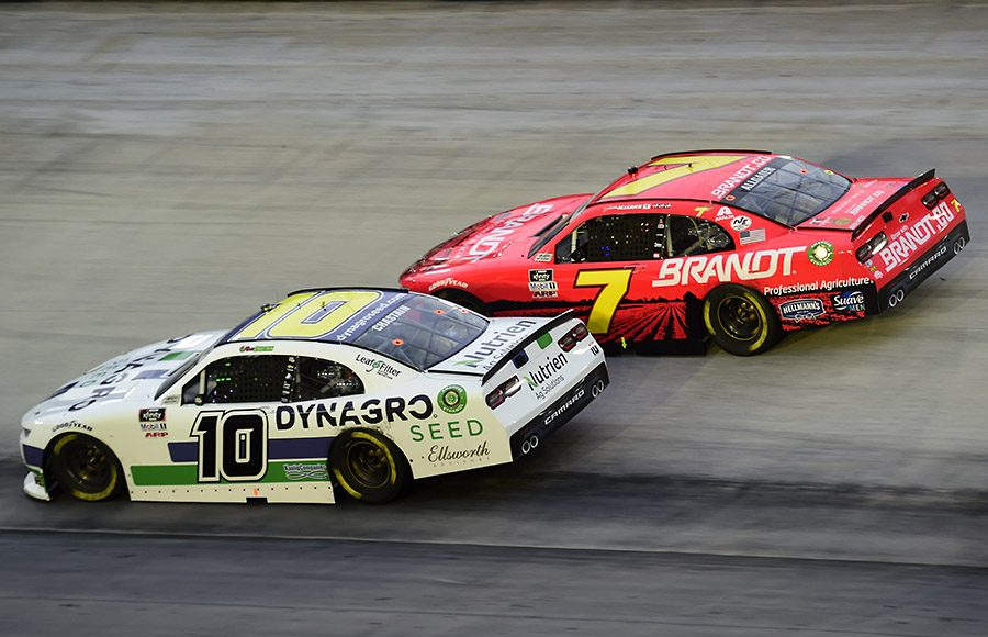 Ross Chastain (10) battles Justin Allgaier during Friday's Food City 300 at Bristol Motor Speedway. (Jared C. Tilton/Getty Images Photo)