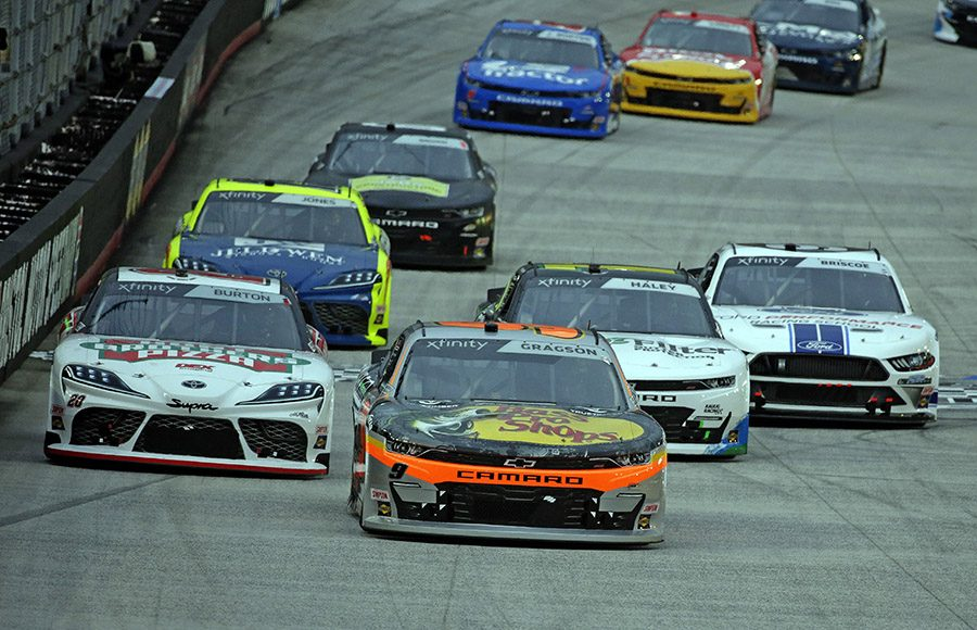 Noah Gragson (9) leads a charging pack of cars during Friday's NASCAR Xfinity Series Food City 300 at Bristol Motor Speedway. (HHP/Alan Marler Photo)