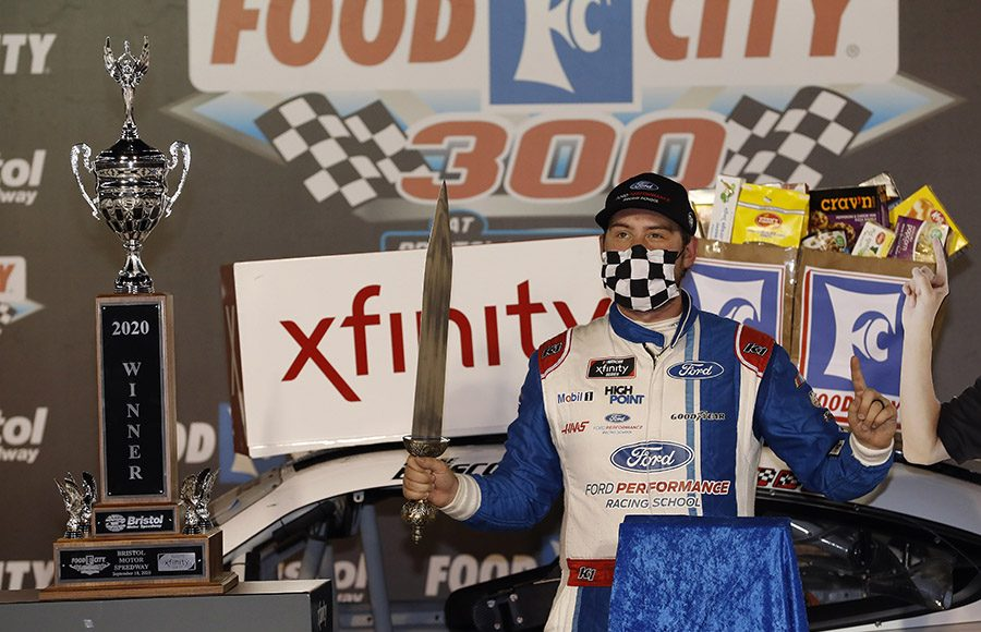 Chase Briscoe poses in victory lane after winning Friday's Food City 300 at Bristol (Tenn.) Motor Speedway. (HHP/Andrew Coppley Photo)