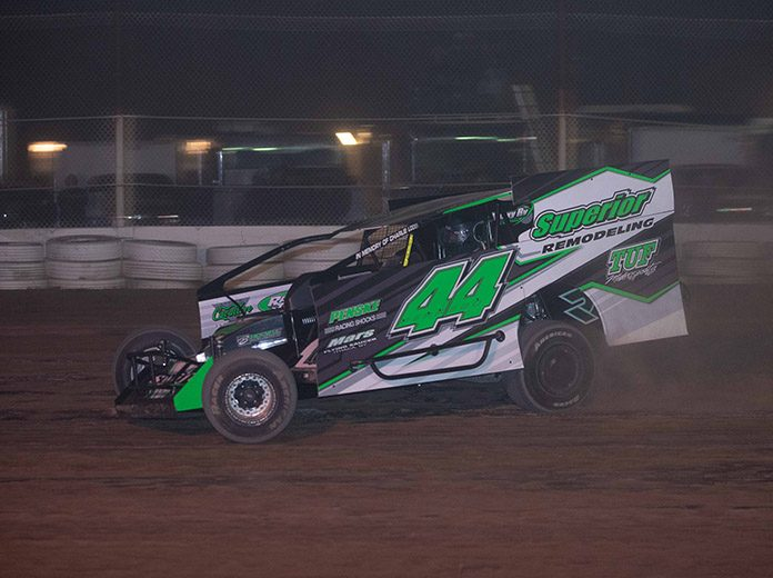 Anthony Perrego on his way to victory Sunday night at Fonda Speedway. (Dylan Friebel Photo)