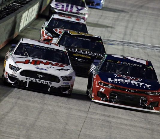 Cole Custer (41) and William Byron (24) at Bristol Motor Speedway. (HHP/Alan Marler Photo)