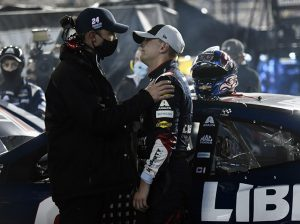 William Byron (right) talks with crew chief Chad Knaus after Byron crashed out of Saturday's NASCAR Cup Series race at Bristol Motor Speedway. (Jared C. Tilton/Getty Images Photo)