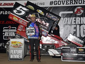 Brent Marks in victory lane Tuesday night at Eldora Speedway. (Mike Campbell Photo)