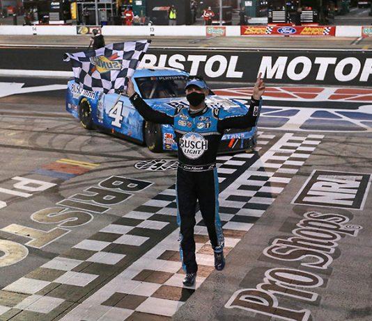 Kevin Harvick following a victory last season at Bristol Motor Speedway. (Sean Gardner/Getty Images Photo)
