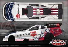 Guaranteed Rate is backing Funny Car driver Dave Richards during the Gatornationals this weekend.