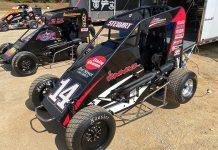 Tony Stewart's three-quarter midget awaits him Friday afternoon at Thunder Valley Raceway in Salem, Ind. (Lenny Batycki/PRN's At The Track Photo)