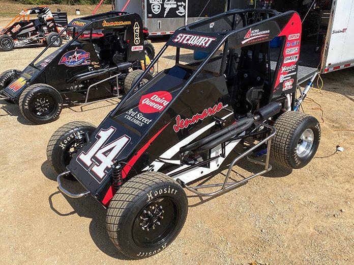 Tony Stewart's three-quarter midget awaits him Friday afternoon at Thunder Valley Raceway in Salem, Ind. (Lenny Batycki/PRN's At The Track Photo)