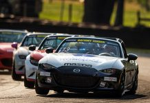 Robert Noaker leads the field during Friday's Global Mazda MX-5 Cup event at the Mid-Ohio Sports Car Course.