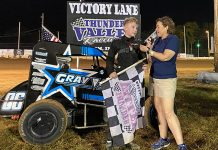 Rylan Gray is interviewed in victory lane after winning Friday's All Star Circuit of Champions TQ Midget feature at Thunder Valley Raceway. (Lenny Batycki/PRN's At the Track Photo)