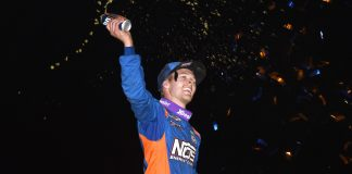 Sheldon Haudenschild won Friday night's World of Outlaws race at his home track — Wayne County Speedway. (Paul Arch photo)