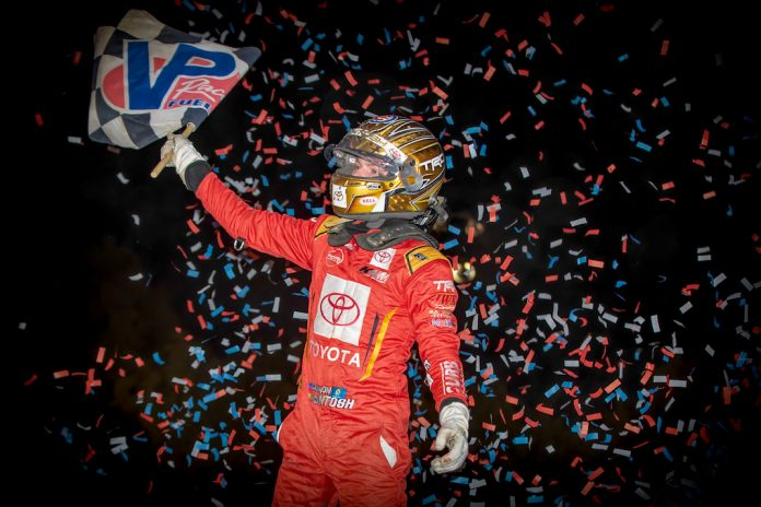 Cannon McIntosh celebrates winning Friday's USAC midget feature at Gas City I-69 Speedway. (Eli Kaikko photo)
