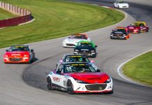 Michael Carter leads the field during Saturday's Global Mazda MX-5 Cup event at the Mid-Ohio Sports Car Course.