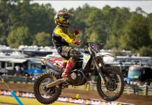 Zach Osborne swept both motos to claim the Lucas Oil Pro Motocross 450 class victory Saturday in Florida. (Align Media Photo)