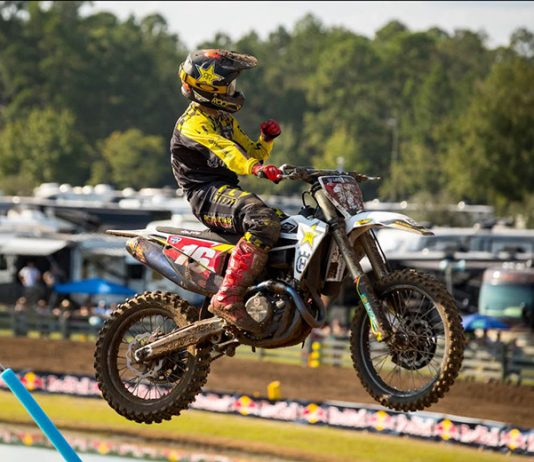 Zach Osborne swept both motos to claim the Lucas Oil Pro Motocross 450 class victory Saturday in Florida. (Align Media Photo)