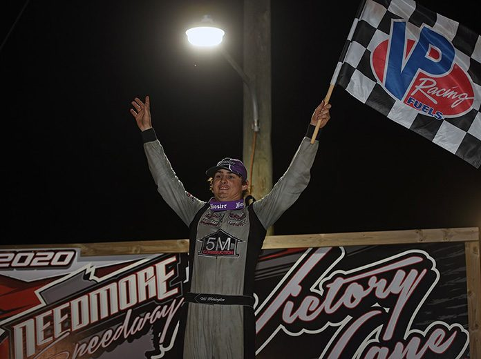 Wil Herrington led every lap of Saturday's Newsome Raceway Parts Crate Racin' USA Dirt Late Model Series feature at Needmore Speedway. (Brian McLeod Photo)