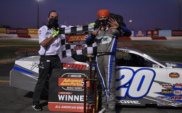 Cole Moore swept a pair of late model features Saturday at All-American Speedway. (Don Thompson Photo)
