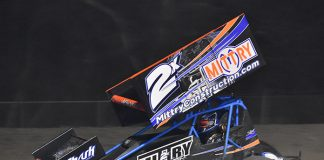 Chase Majdic on his way to victory on Saturday night at Keller Auto Speedway. (Joe Shivak Photo)
