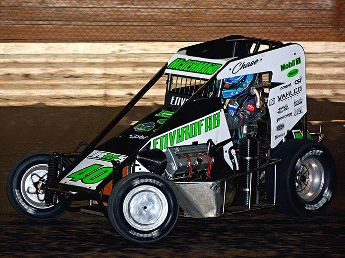 Chase McDermand and his No. 40 on their way to victory in the Badger Midget Series 25-lap feature race at Illinois' Sycamore Speedway Saturday night. The young Springfield, Ill., racer captured his second straight Badger midget title. (Stan Kalwasinski Photo)