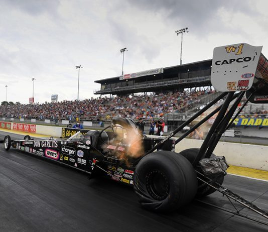 Steve Torrence paid tribute to Don Garlits with a victory in Sunday's Gatornationals at Gainesville Raceway. (NHRA Photo)