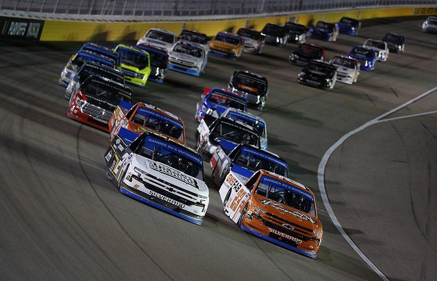 Sheldon Creed (2) and Brett Moffitt (23) lead the NASCAR Gander RV & Outdoors Truck Series field Friday at Las Vegas Motor Speedway. (NASCAR photo)