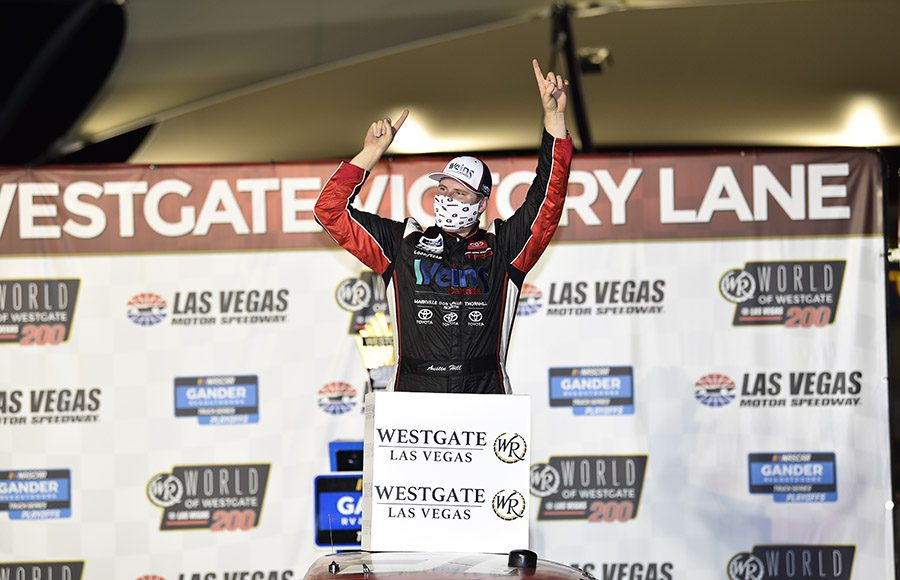 Austin Hill celebrates after winning Friday's NASCAR Gander RV & Outdoors Truck Series race at Las Vegas Motor Speedway. (HHP/Harold Hinson Photo)