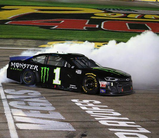 Kurt Busch celebrates his victory at Las Vegas Motor Speedway Sunday evening. (HHP/Jim Fluharty Photo)