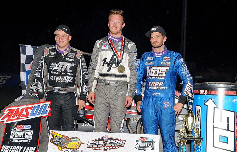 C.J. Leary (center), Justin Grant (right) and Brady Bacon (left) were the top-three finishers in Friday's USAC AMSOIL National Sprint Car Series event at Gas City I-69 Speedway. (Lonnie Wheatley Photo)