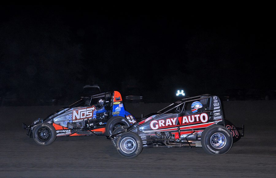 Justin Grant (4) battles C.J. Leary during Friday's USAC AMSOIL National Sprint Car Series feature at Gas City I-69 Speedway. (Randy Crist Photo)