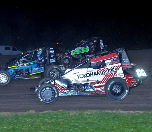 Mario Clouser (6), Brandon Long (02), Chase Johnson (22) and Slater Helt battle four-wide during Friday's USAC AMSOIL National Sprint Car Series feature at Gas City I-69 Speedway. (Randy Crist Photo)