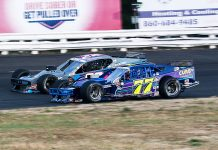 Max McLaughlin (77) battles Kyle Bonsignore during Saturday's NASCAR Whelen Modified Tour event at Stafford Motor Speedway. (Dick Ayers Photo)
