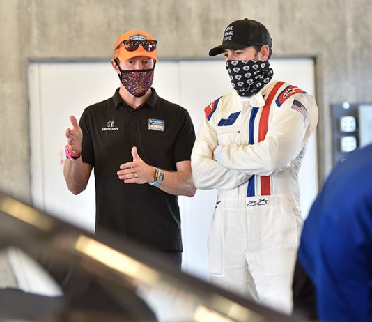 Jimmie Johnson (right) and Scott Dixon (left) during Johnson's recent NTT IndyCar Series test at Indianapolis Motor Speedway. (IndyCar Photo)