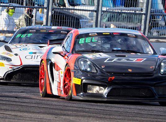 Jan Heylen and Charlie Belluardo triumphed in Thursday's Pirelli GT4 America SprintX event at Indianapolis Motor Speedway.