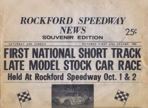 A copy of the Rockford Speedway Souvenir News proclaimed the first National Short Track Championships. (Stan Kalwasinski Collection)