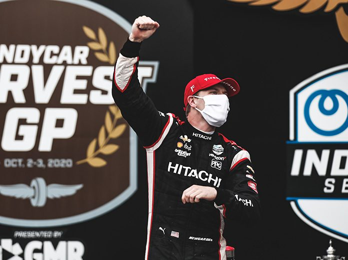 Josef Newgarden celebrates after winning the first race of the Harvest GP doubleheader at Indianapolis Motor Speedway on Friday. (IndyCar Photo)