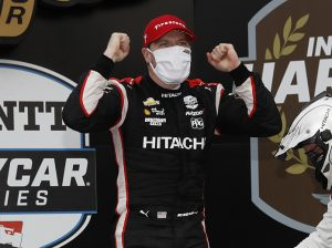 Josef Newgarden celebrates his first victory at Indianapolis Motor Speedway on Friday afternoon. (IndyCar Photo)
