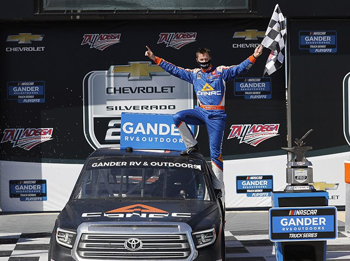 Raphael Lessard earned his first NASCAR Gander RV & Outdoors Truck Series victory Saturday at Talladega Superspeedway. (HHP/Andrew Coppley Photo)