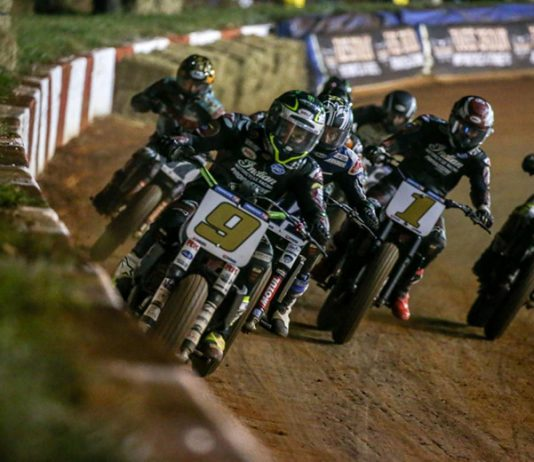 Jared Mees (9) raced to a weekend sweep at Dixie Speedway in American Flat Track competition.