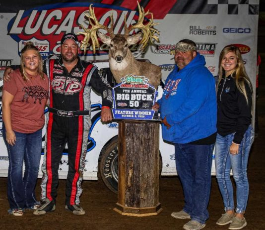 Peyton Taylor in victory lane after winning the Big Buck 50 at Lucas Oil Speedway. (GS Stanek photo)