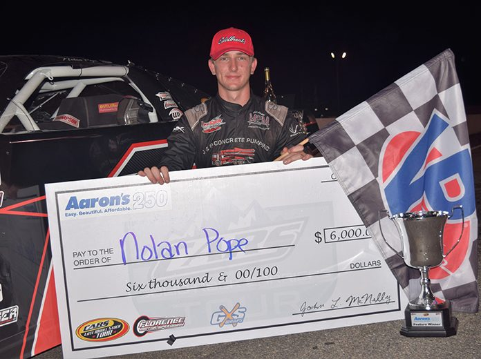 Nolan Pope registered his first CARS Tour victory on Saturday night at Florence Motor Speedway. (Jacob Seelman Photo)