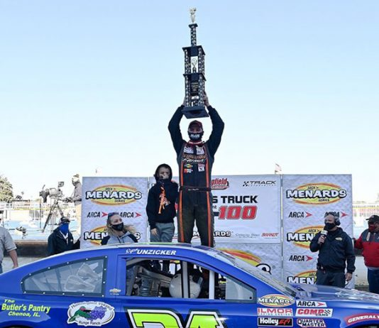 Ryan Unzicker dominated Sunday's ARCA Menards Series event at the Illinois State Fairgrounds. (ARCA Photo)