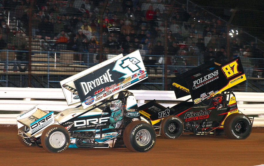 Jacob Allen (1a) battles Aaron Reutzel during Friday's World of Outlaws NOS Energy Drink Sprint Car Series National Open preliminary event at Williams Grove Speedway. (Frank Smith Photo)