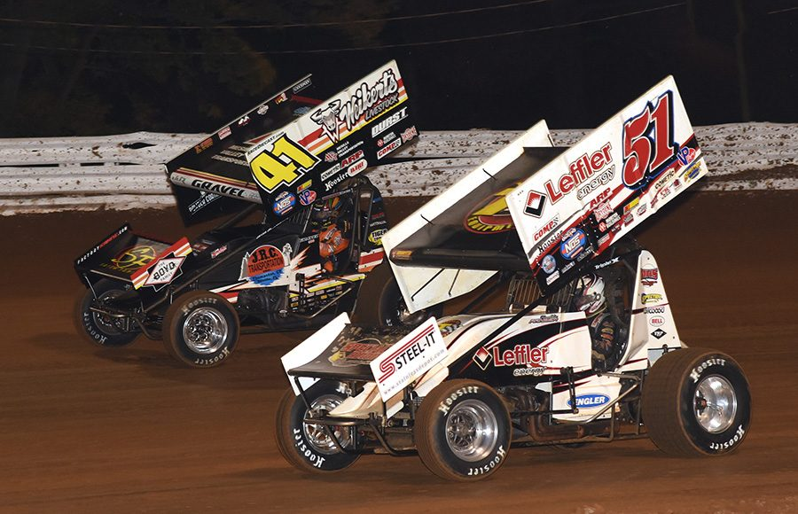 Freddie Rahmer (51) races under David Gravel during Friday's World of Outlaws NOS Energy Drink Sprint Car Series National Open preliminary event at Williams Grove Speedway. (Julia Johnson Photo)