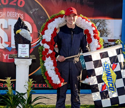 Young Max Kahler on the victory podium after he won the 55th annual National Short Track Championships late model stock car race at Illinois' Rockford Speedway Sunday afternoon. (Stan Kalwasinski Photo)