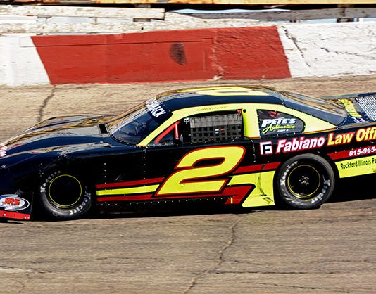 Michael Bilderback and his No. 2 on their way to winning the 108-lap Big 8 Series stock car race at Illinois' Rockford Speedway Sunday afternoon. (Stan Kalwasinski Photo)