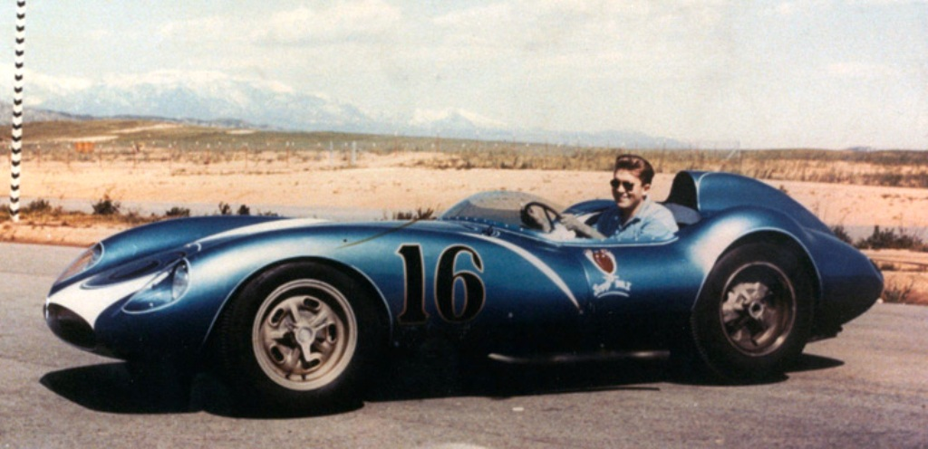 Lance Reventlow sits aboard the Scarab race car. (Bob Gates Photo Collection)