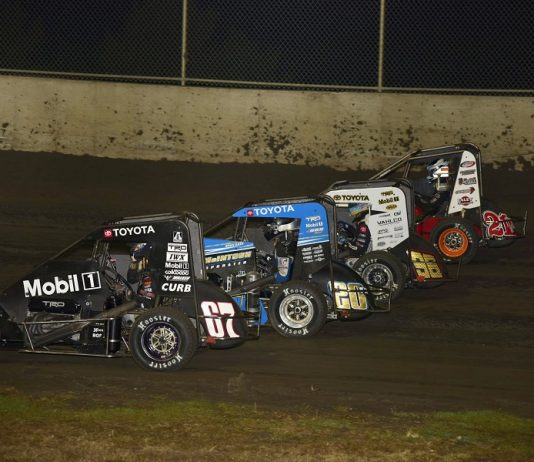 The four-wide parade lap prior to Friday's POWRi Gold Crown Midget Nationals feature at Tri-City Speedway. (Mark Funderburk photo)